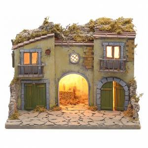 Nativity scene set small village with manger s1