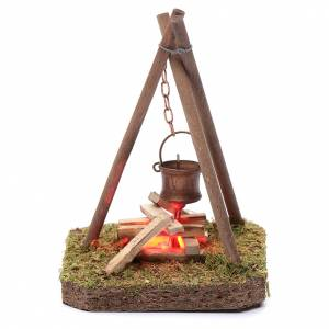 Fireplaces and ovens: Nativity scene setting 10x10x10 cm pot on campfire 4,5 V