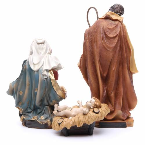 Nativity scene with ox and donkey, 30cm in resin s3