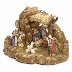 Resin and Fabric nativity scene sets: Nativity scene with stable by Landi, 11cm