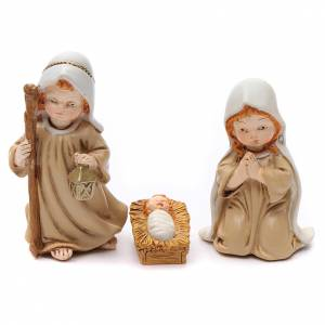 Resin and Fabric nativity scene sets: Nativity scene with Three Wise Men, angel and small animals 11 pieces 9,5 cm