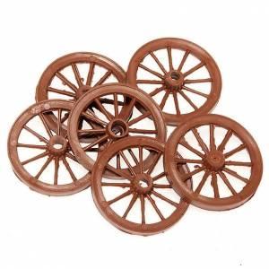 Miniature tools: Nativity set accessories, 6-piece cart wheels