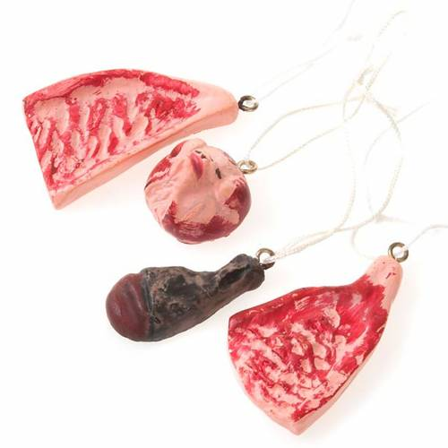 Nativity set accessory, butcher's meat 4pcs s1