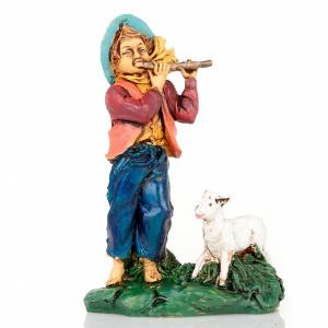 Nativity set accessory, Shepherd with flute and sheep s1