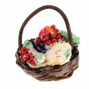 Miniature food: Nativity set accessory, vegetables basket with handle