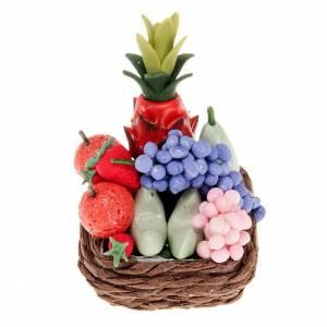 Miniature food: Nativity set accessory,wicker basket with fruit