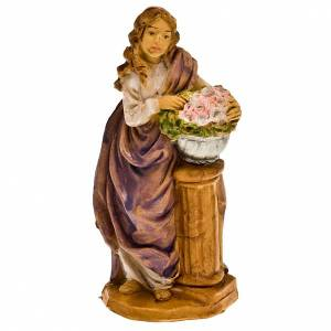 Nativity set accessory,Woman with flowers figurine s1