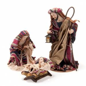 Resin and Fabric nativity scene sets: Nativity set coloured mantle, resin 33cm