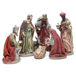 Resin and Fabric nativity scene sets: Nativity set in resin measuring 28cm, 8 characters with Multicoloured finish