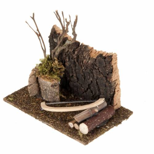 Nativity set setting, saw with logs s2