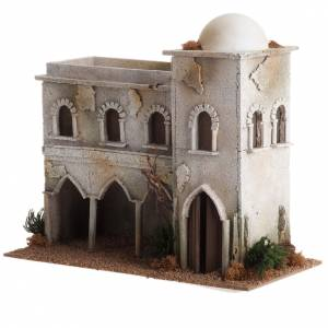 Settings, houses, workshops, wells: Nativity setting, Arabian house with dome and arches