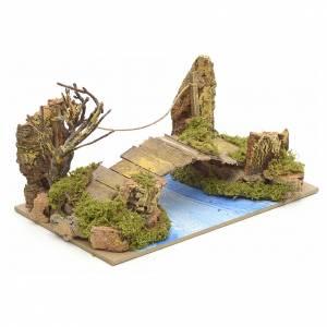 Bridges, streams and fences for Nativity scene: Nativity setting, bridge over river, 20x12cm