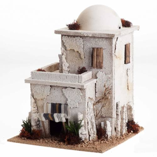 Nativity setting, double Arabian house with dome s1