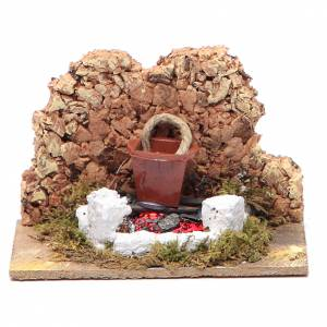 Fireplaces and ovens: Nativity setting, fire with flickering LED and pot 10x6x5.5cm