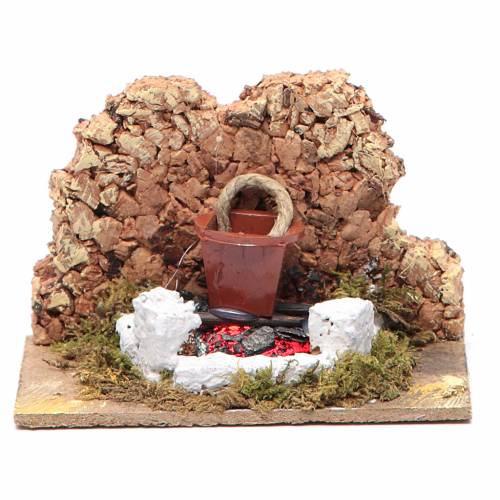 Nativity setting, fire with flickering LED and pot 10x6x5.5cm s1
