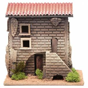 Settings, houses, workshops, wells: Nativity setting, house with stairs measuring 23x23x10cm