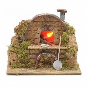 Fireplaces and ovens: Nativity setting, oven featuring flame effect bulb 15x10cm