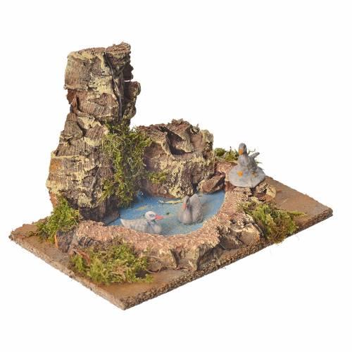 Nativity setting, pond with ducks 10cm s2