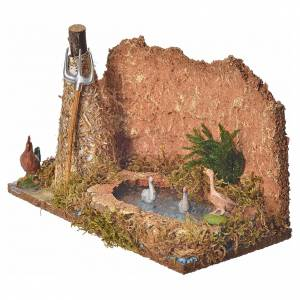 Nativity setting, pond with geese and sheaf 15x24x13cm s6