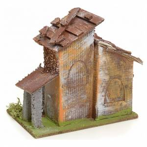 Nativity setting, rustic house in wood s3