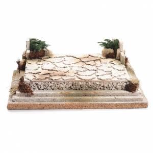 Nativity setting, square in cork 12x35x26cm s1
