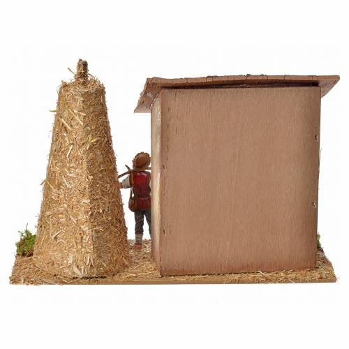 Nativity setting, stable with farmer, cow and straw 20x26x10cm s3