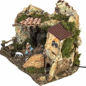 Nativity setting, stable with fire pit 28x38x28cm s4