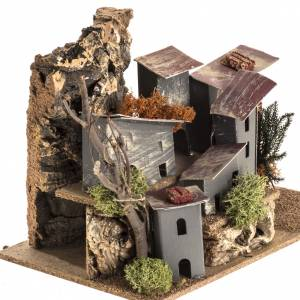 Settings, houses, workshops, wells: Nativity setting, village with cardboard houses