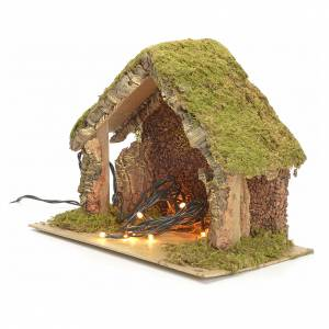 Nativity stable with lights and pointed roof 24x32x18cm s2