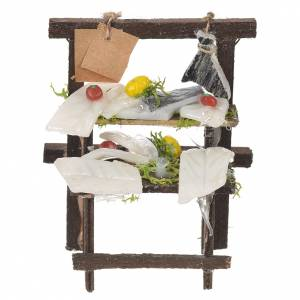 Miniature food: Nativity stall, salted codfish seller in wax 8.5x6x4cm