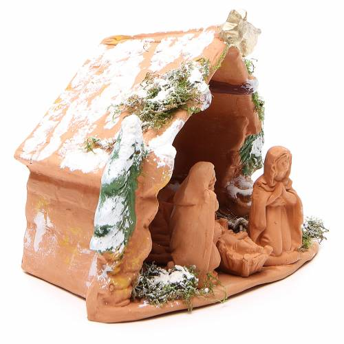 Nativity terracotta trees moos and snow 20x23x16cm s3