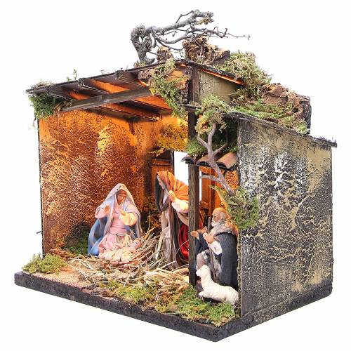 Nativity with shepherd and setting measuring 10cm for Neapolitan Nativity s2