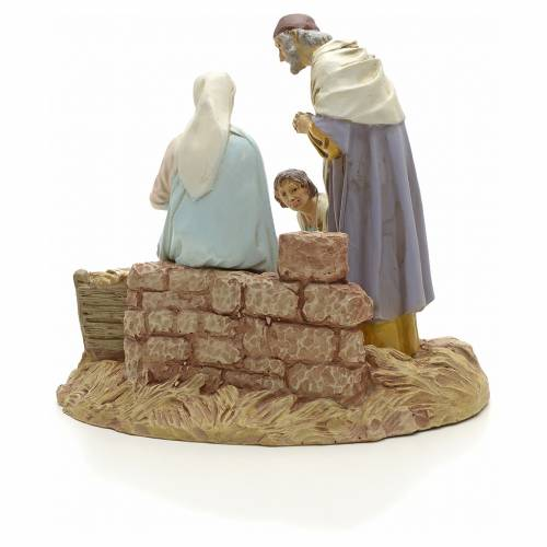 Nativity with shepherd on base, painted resin 16 cm STOCK s3