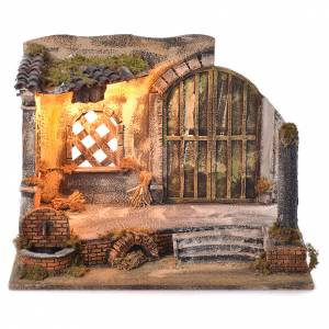 Neapolitan Nativity 45x60x35cm Village and fountain for 14cm s1