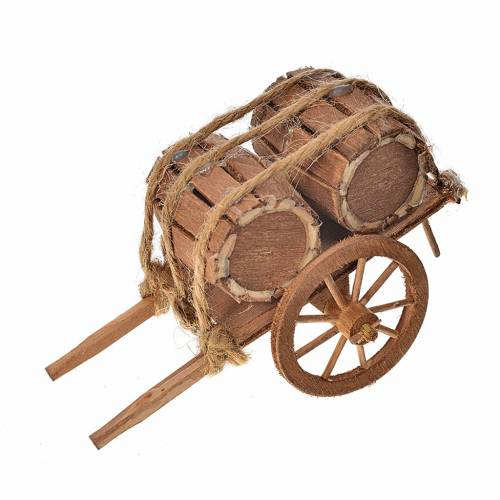 Neapolitan Nativity accessory, barrels cart 8x12x7cm s1