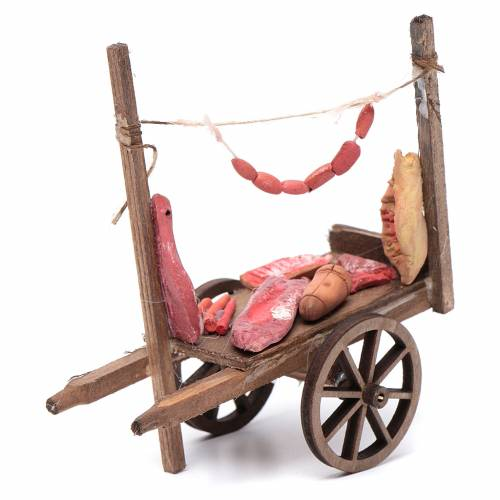 Neapolitan Nativity accessory, cart with meat and sausages 11x11 s1