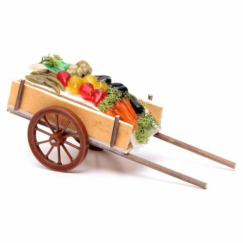 Neapolitan Nativity accessory, fruit and vegetable cart in wax 6 s2