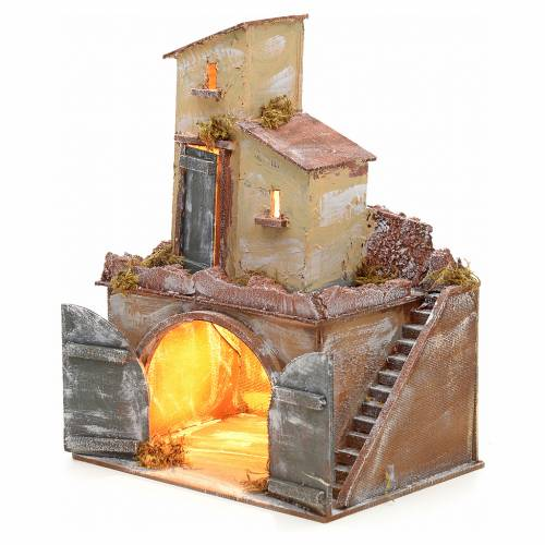 Neapolitan nativity accessory, illuminated stable with double do s3