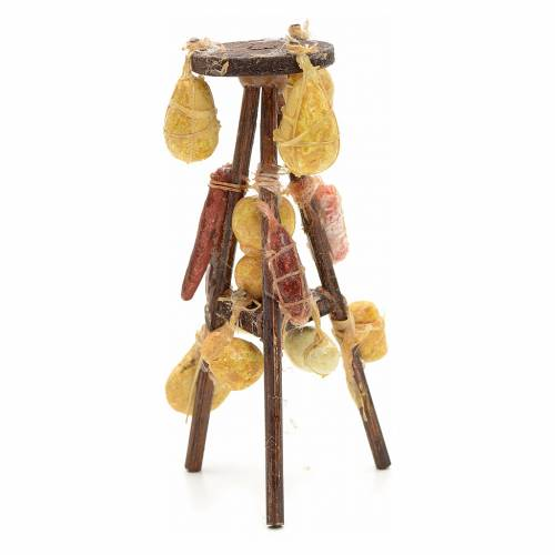 Neapolitan nativity accessory, tripod with cheese and cold meat s2