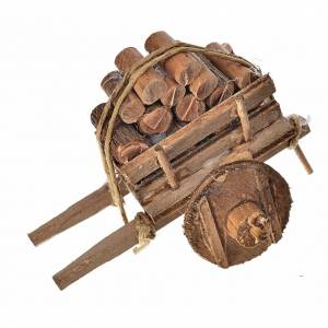 Neapolitan Nativity Scene: Neapolitan Nativity accessory, wood cart 5.5x7.5x5.5cm
