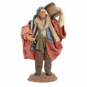 Neapolitan Nativity figurine, man carrying cask, 18 cm s1