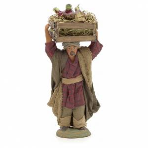 Neapolitan Nativity figurine, man carrying flasks, 10 cm s1