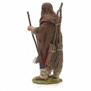 Neapolitan Nativity figurine, man with brooms, 24 cm s3