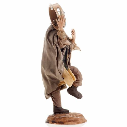 Neapolitan nativity figurine, man with tambourine 18cm s3