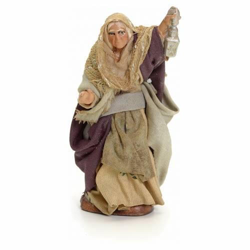 Neapolitan Nativity figurine, old lady with lantern, 8 cm s1