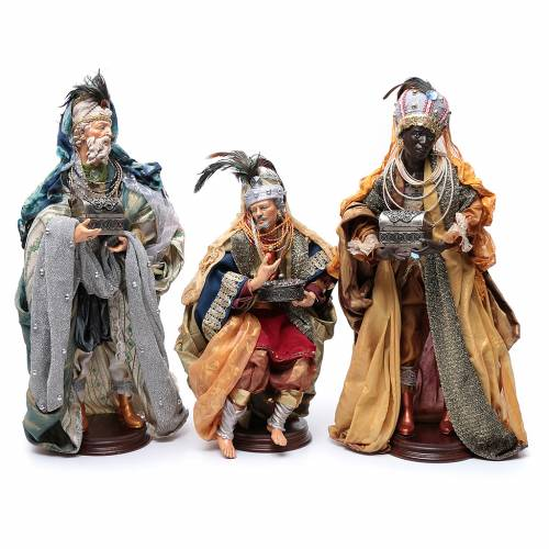 Neapolitan Nativity figurine, three wise kings, 45 cm s1