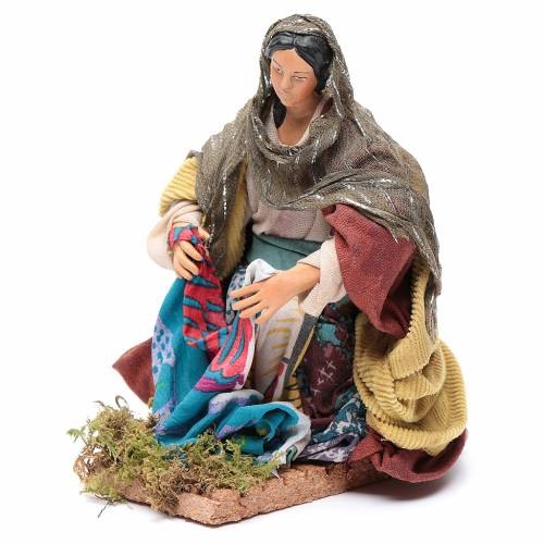 Neapolitan nativity figurine, washerwoman 18cm s2