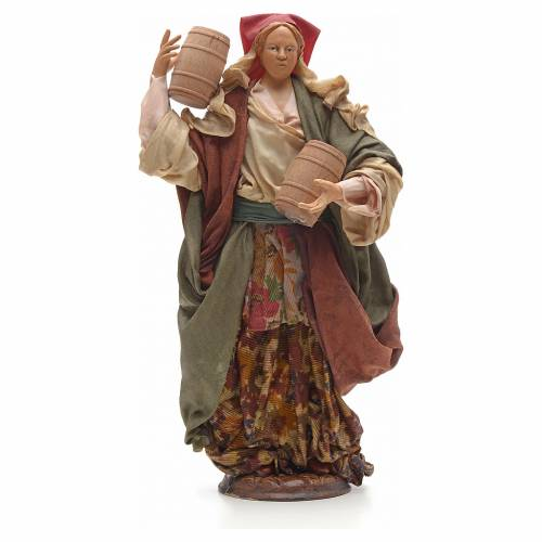 Neapolitan Nativity figurine, woman carrying cask, 30 cm s1