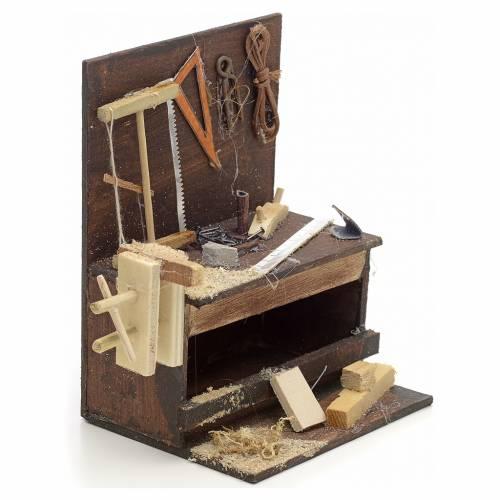 Neapolitan Nativity scene accessory, carpenter stall 10x10x7 cm s2