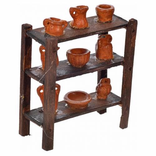 Neapolitan Nativity scene accessory, shelf with vases 7x6x3 cm s2